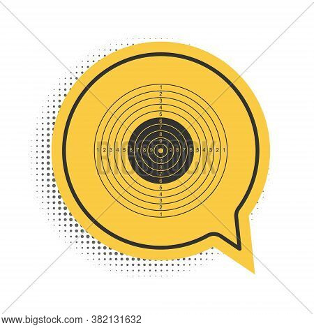 Black Target Sport For Shooting Competition Icon Isolated On White Background. Clean Target With Num