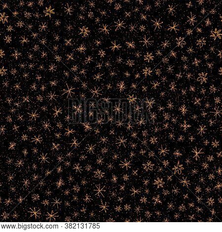 Hand Drawn Red Snowflakes Christmas Seamless Pattern. Subtle Flying Snow Flakes On Black Background.