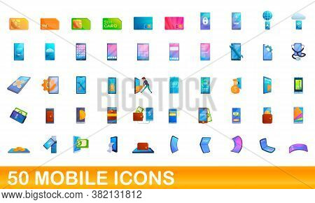 50 Mobile Icons Set. Cartoon Illustration Of 50 Mobile Icons Vector Set Isolated On White Background
