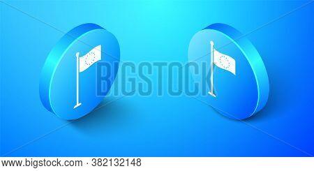 Isometric Flag Of European Union Icon Isolated On Blue Background. Eu Circle Symbol. Waving Eu Flag