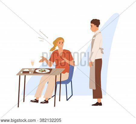 Displeased Restaurant Or Cafe Visitor Shout, Scream At Waiter Boy In Apron. Woman Sitting At Served