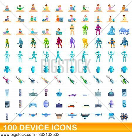 100 Device Icons Set. Cartoon Illustration Of 100 Device Icons Vector Set Isolated On White Backgrou