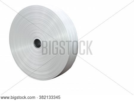 Roll Of Industrial Plastic As Material For Plastic Bag ; Isolated White Background