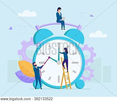 Concept Of Time Budget. Tiny Business People Trying To Turn The Clock By Hands And To Stop The Time