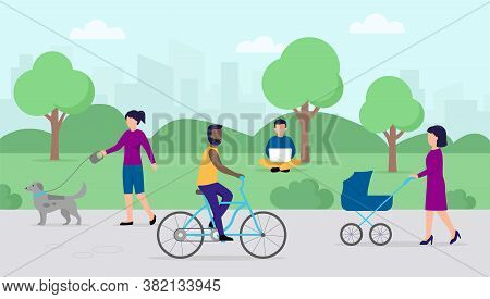 Leisure Time Concept. People At City Summer Park With Green Trees And Walkway. Women Walk With Baby