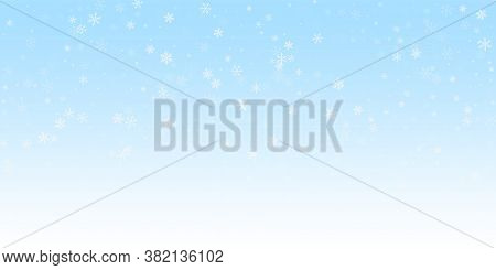 Sparse Snowfall Christmas Background. Subtle Flying Snow Flakes And Stars On Winter Sky Background.