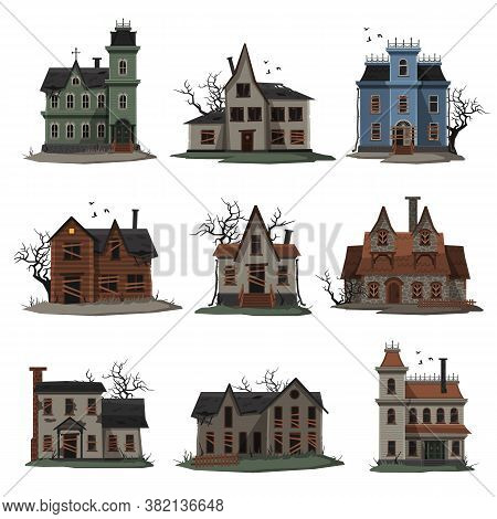 Scary Abandoned Houses Collection, Halloween Haunted Mansions With Boarded Up Windows, Creepy Trees