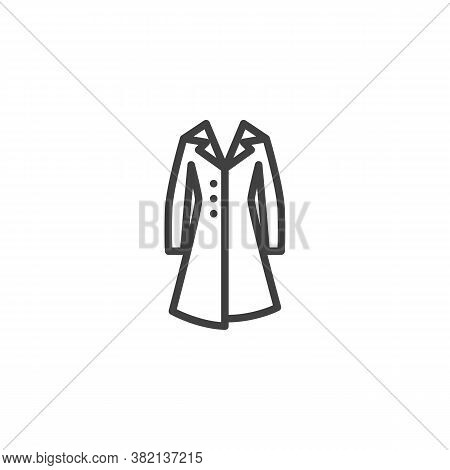 Women Coat With Collar Line Icon. Linear Style Sign For Mobile Concept And Web Design. Winter Coat O