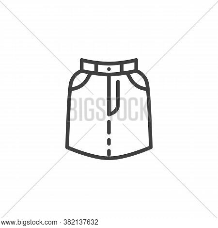 Skirt With Pockets Line Icon. Linear Style Sign For Mobile Concept And Web Design. Short Skirt Outli