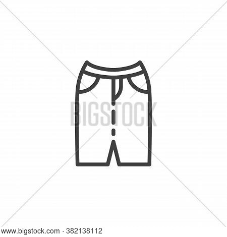 Casual Women Skirt Line Icon. Linear Style Sign For Mobile Concept And Web Design. Stylish Skirt Wit