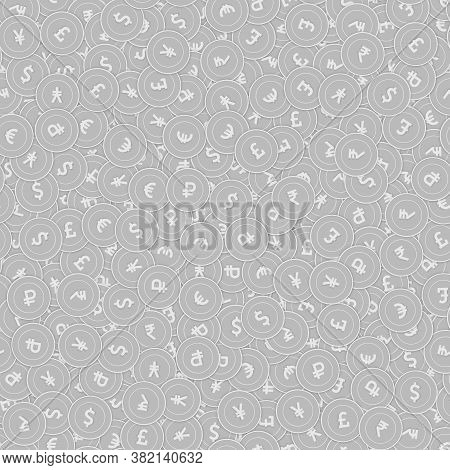 International Currencies Silver Coins Seamless Pattern. Remarkable Scattered Black And White Global