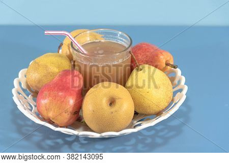 Pear Fruit Species And Varieties. Fruits On White Tray. Human Food. Healthy Fruits. Fair Fruit. Natu