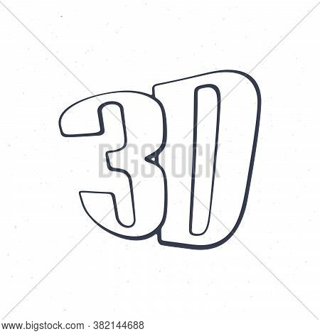 Abbreviation For Three-dimensional Film 3d. Outline. Vector Illustration. Symbol Of The Film Industr