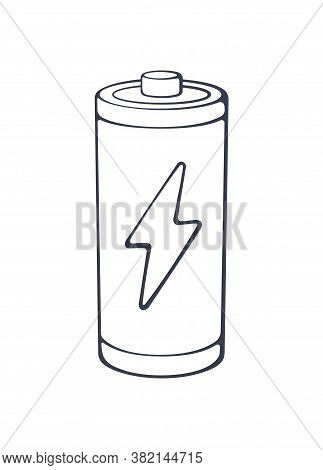 Charging Energy Status Of Electrical Device Accumulator. Outline Icon. Vector Illustration. Empty Ch