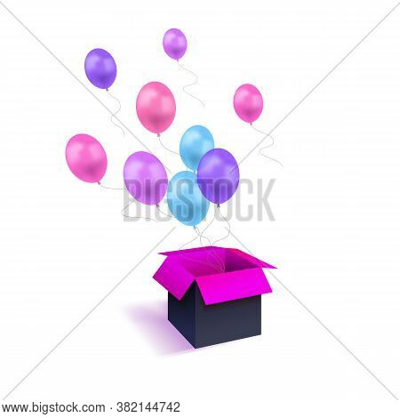 Vector Gift Concept, Minimalism Style, Flying Colorful Balloons And 3d Box Illustration Isolated On