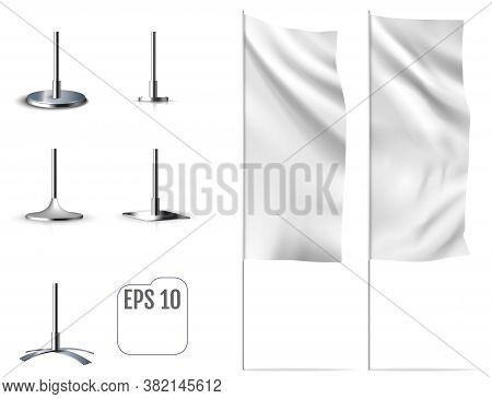 White Banner Flag. Realistic Mockup Of Banner Flag.