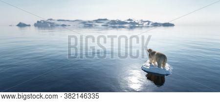 Polar bear on ice floe. Melting iceberg and global warming. Climate change. 3D illustration
