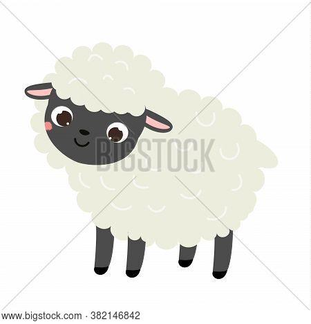 Cartoon Sheep. Cute Farm Animal Character. Vector Clip Art