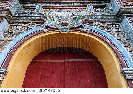 Hue, Vietnam, July 14, 2020: Decoration Of The East Gate Of The Hue Citadel. Vietnam