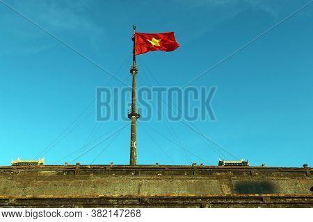 Hue, Vietnam, July 14, 2020: Flag Of Vietnam At The Hue Citadel. Vietnam