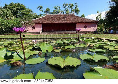 Hue, Vietnam, July 15, 2020: Lotus Flowers In The Gardens Of Chùa Thiên Mụ Pagoda, Hue, Vietnam