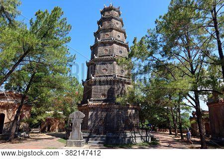 Hue, Vietnam, July 15, 2020: Chùa Thiên Mụ 7 Storey Pagoda, Hue, Vietnam