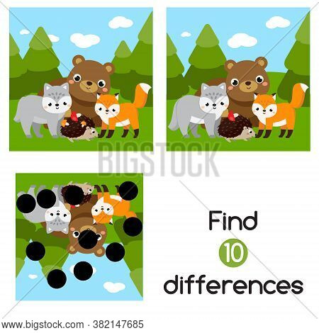 Find The Differences Educational Children Game. Kids Activity With Cartoon Forest Animals