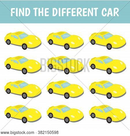 Find A Car That's Different From The Others. Children's Game Of Mindfulness. Vector.