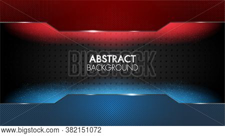 Black Abstract Mat Geometric Red And Blue Background Elegant Futuristic Glossy Red And Blue Light Wi