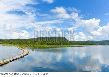 Harbour In River Water In Thailand Blue Sky With Clouds Beautiful And Island Mountain Background Lan