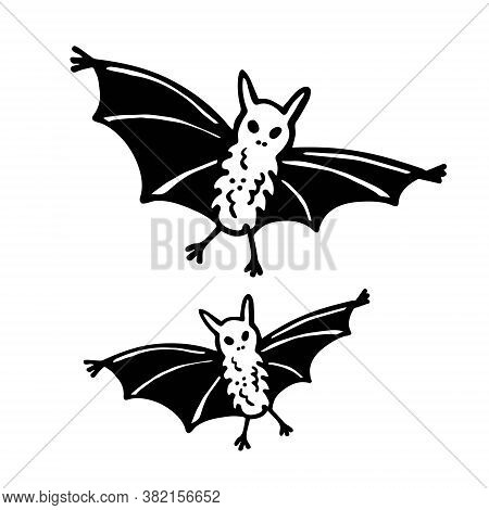 Bats. Wild Dangerous Animal. Halloween Old School Art, Design Element, Icon, Sticker. Holiday Ink St