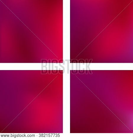 Set With Pink Abstract Blurred Backgrounds. Vector Illustration. Modern Geometrical Backdrop. Abstra