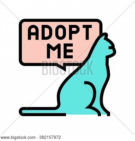 Cat Talk Adopt Me Color Icon Vector. Cat Talk Adopt Me Sign. Isolated Symbol Illustration