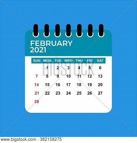 February 2021 Calendar. Calendar February 2021 Part Of 2021 Calendar. 2021 Calendar Flat Style. Febr