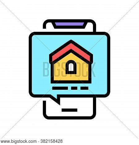 Mobile Phone House Buy Correspondence Color Icon Vector. Mobile Phone House Buy Correspondence Sign.