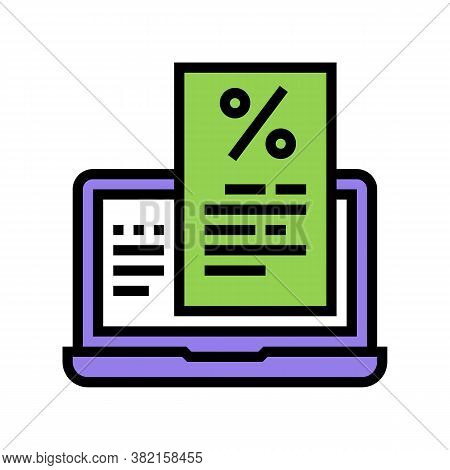 Internet Mortgage Payment Advice Color Icon Vector. Internet Mortgage Payment Advice Sign. Isolated