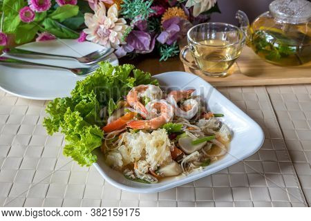 Spicy Mixed Seafood. Seafood Spicy Salad. Spicy Shrimp With Squid Salad