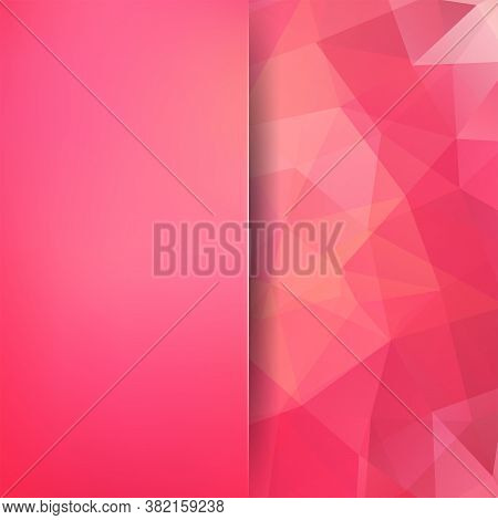 Geometric Pattern, Polygon Triangles Vector Background In Pink, Orange Tones. Blur Background With G