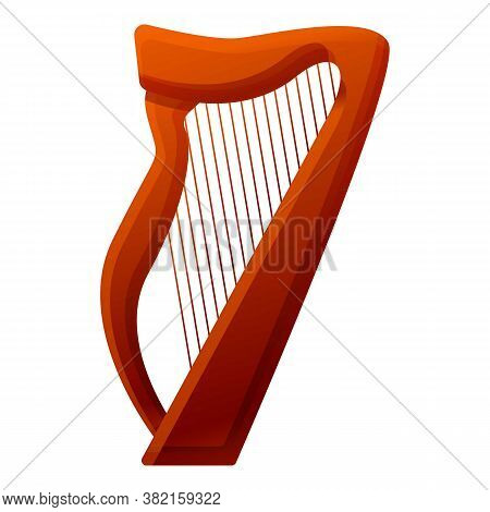 Harp Instrument Icon. Cartoon Of Harp Instrument Vector Icon For Web Design Isolated On White Backgr