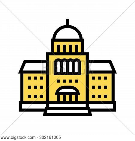 Courthouse Building Color Icon Vector. Courthouse Building Sign. Isolated Symbol Illustration