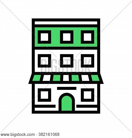 House With Apartment Building Color Icon Vector. House With Apartment Building Sign. Isolated Symbol