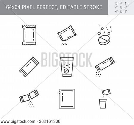 Sachet Line Icons. Vector Illustration Included Icon As Sugar Powder Packet, Soluble Pill, Effervesc