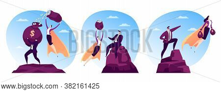 Financial Success For Man Person, Woman Hero Character Fly With Flat Finance Vector Illustration. Bu