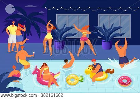People Have Fun At Water Pool Party, Summer Night Holiday With Happy Man Woman Vector Illustration.