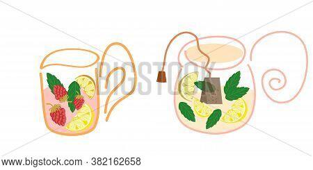 The Tea Set Is Isolated On A White Background. Teapot And Mug With Mint, Lemon, Tea Bag And Raspberr