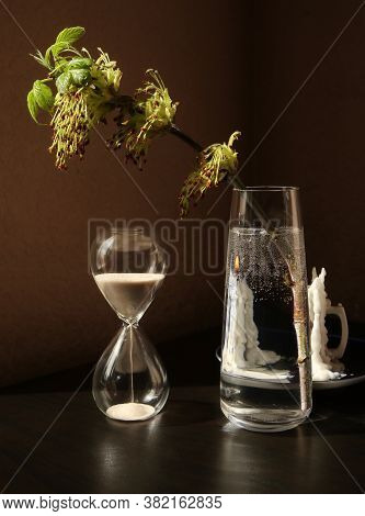 Still Life With Vintage Sandglass And Flowering Spring Twig Of Ash-tree With Young Leaves In A Glass