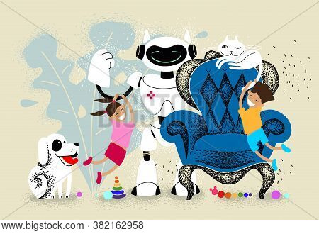 Children Play At Home With Pets And Robot. Robot Nanny Is Watching Over The Children. Dog And Cat En