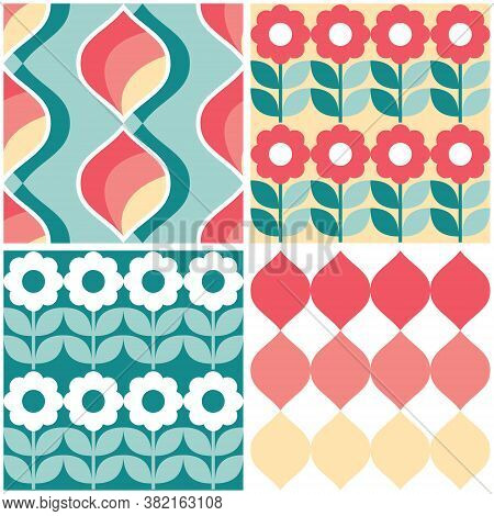 Retro Geometric Mid-century Modern Vector Seamless Pattern Set Of Four, Funky Repetitive Textile Des