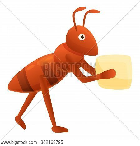 Ant Cube Sugar Icon. Cartoon Of Ant Cube Sugar Vector Icon For Web Design Isolated On White Backgrou
