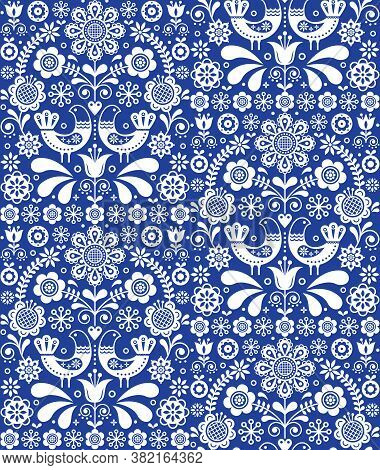 Scandinavian Seamless Folk Art Vector Pattern, Floral Repetitive Background With Birds And Flowers I